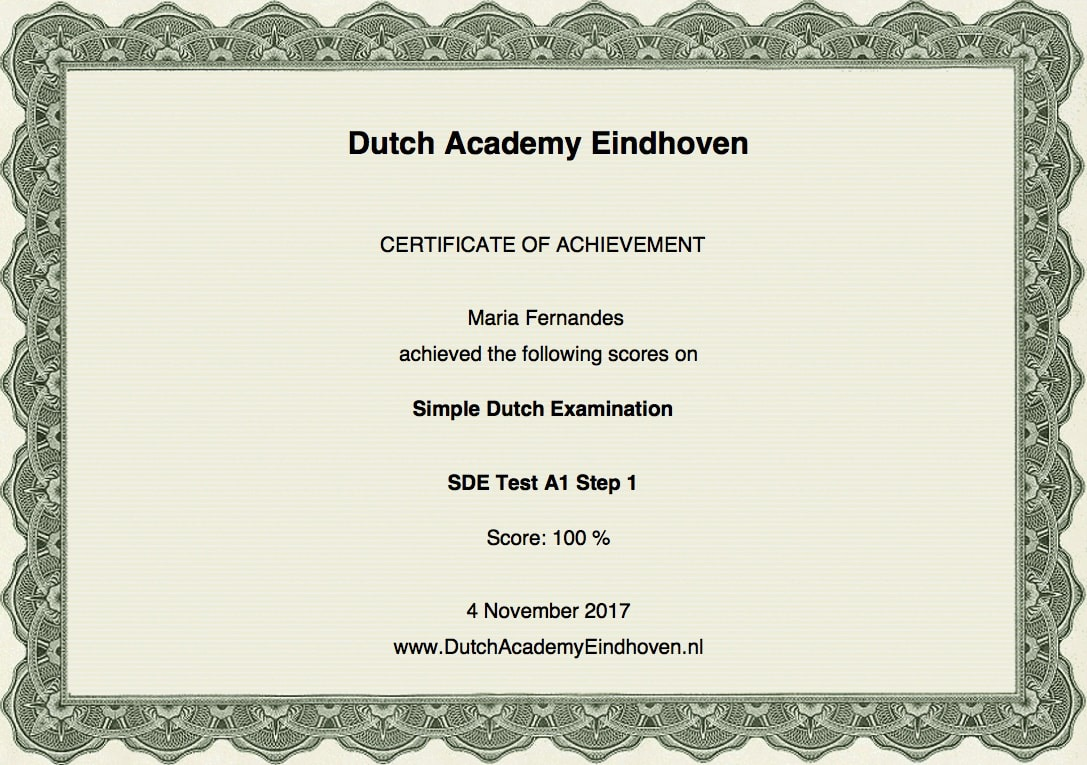 Dutch Certificate