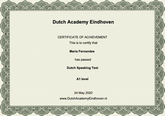 Dutch Course Eindhoven certificate A1